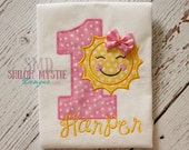 Sunshine birthday shirt-Sun Birthday shirts-Sun birthday onesie-Pink and yellow sunshine birthday tees
