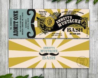 Mustache Party Invitation Ticket, Mustache Birthday Party, Mustache Baby Shower, Steampunk Invitation, Printable Ticket Invitation for Men