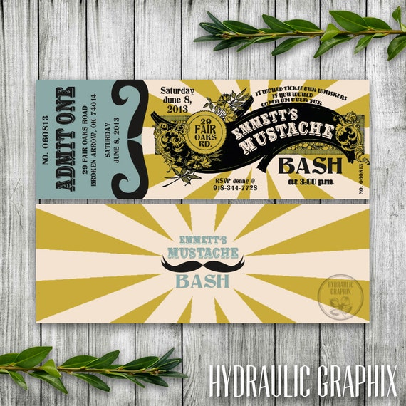Mustache Party Invitation Ticket, Mustache Birthday Party, Mustache Baby Shower, Steampunk Invitation, Printable Ticket Invitation for Men
