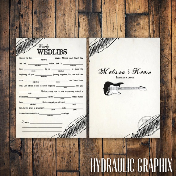 Rock N Roll Wedding Mad Libs With Guitar Marriage Advice Mad