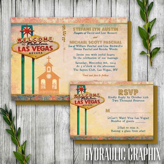 Las vegas wedding invitation set with chapel destination for Las vegas elvis wedding invitations