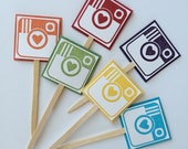 Social Media Camera Cupcake Toppers - Rainbow Colored - Wedding Party, Birthday Party, Marketing Party