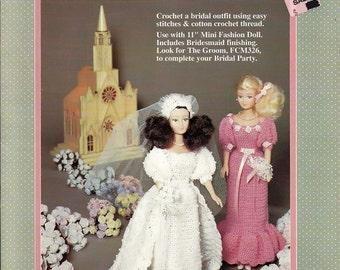 "The Bride 11 1/2"" mini Fashion Doll (3066) Crochet  Pattern Fibre Craft  FCM 325"