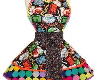 "Colorful Coffee/Espresso Retro Apron--A ""Tie Me Up Aprons"" Exclusive Pinup Apron"