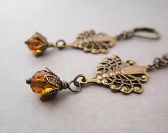 Victorian Jewelry - Honey Yellow Earrings - Light Orange Crystal - Intricate