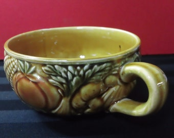 Vintage Ceramic Large Cup or Soup Bowl with Garden Vegetable Embossed Design