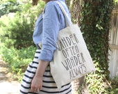 Wander Often Wonder Always™ tote bag by Hello Small World, quote tote, inspirational quote, inspirational tote, travel tote
