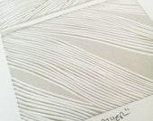 "Original reduction linocut block print: ""Feather"" - limited edition hand pulled fine art block print, linocut print (5 x 5"" - unframed)"
