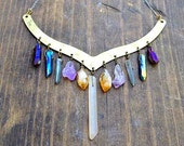 Assorted Mystical + Titanium Quartz Crystal Raw Brass Large Collar Necklace Choker, 11 Crystals Total.