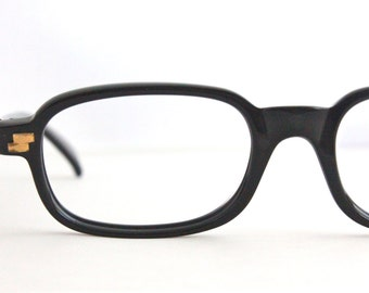 Vintage 60's German Black Horn Minimalist Cat Eyeglasses Frames