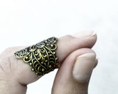 Filigree Knuckle Ring Midi Ring Gothic Ring Mid Finger Ring Embossed Antique Gold Gothic Jewelry