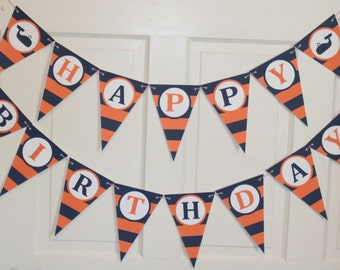 PREPPY STRIPES WHALE Happy Birthday Party or Baby Shower Banner