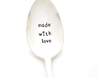 Stamped Serving Spoon. Made With Love. Hand stamped server for holiday table decor.
