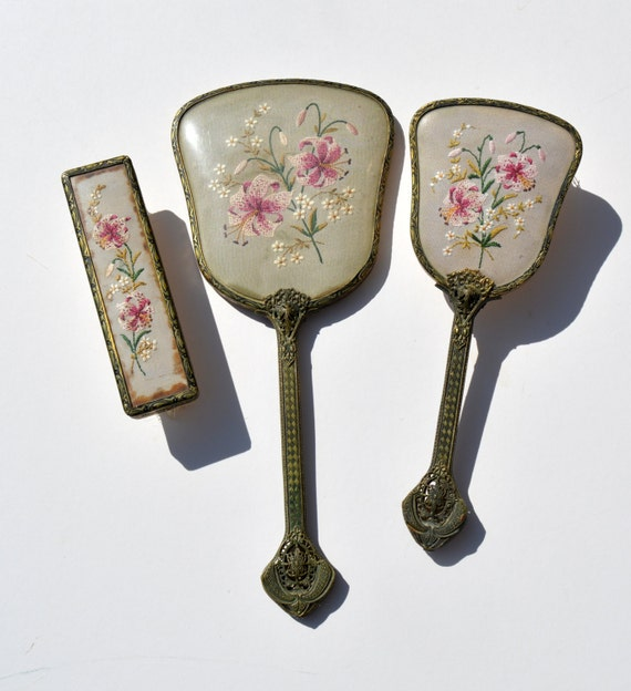 Ladies Filigree Handle Vintage Dressing Table Set by ...