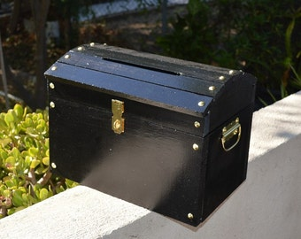 Large Wooden Wedding Treasure Chest Card Box with Card Slot. Black.