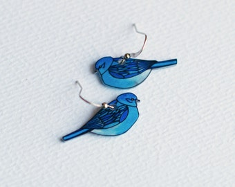 Mountain Bluebird Earrings | Bird Earrings | Songbird | Wearable Art