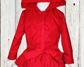 Toddler Raincoat - Ruffle Raincoat - Ruffle Jacket - Red Ruffle Jacket - Dress Jacket - Red Raincoat - Ruffle Coat -  Red Dress Raincoat