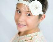 Ivory Cream Headband Pearl Rhinestone Net Veil Rose Gold -  Photo Prop - Newborn Infant Baby Toddler Girls Adult Wedding