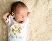 Hello World Personalized New Baby Take Home Outfit Embroidered Shirt or Bodysuit Toddler, Baby Girl Sizes