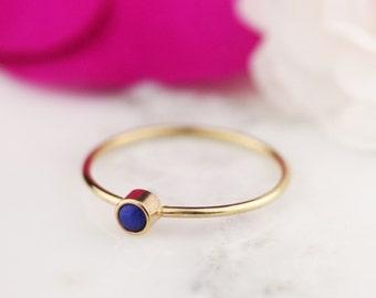 Solid 14k or 18k Gold Lapis Lazuli Stacking Thin Bezel Ring