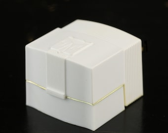 Vintage Art Deco Style White Resin and Velvet Engagement Ring Box