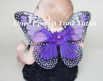 Purple Monarch Butterfly Wings - Baby Butterfly Costume - Fairy Halloween Costume Accessory - Little Girls or Toddler Wearable Wings