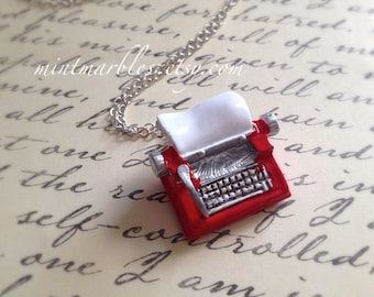 Miniature Bright Red Vintage Typewriter Necklace. Long Necklace. Oddities. Silver Chain. Writer. Conversation Jewelry. Journalist. Miniature