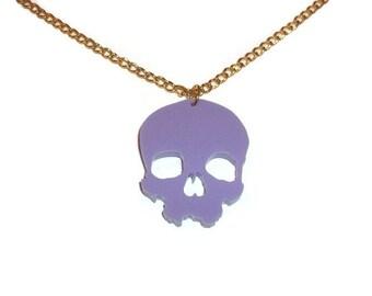 Pastel Skull Necklace, Lilac Lavender Pastel Goth, Creepy Laser Cut Jewelry, Cute Kawaii