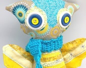 Yellow Owl Plushie handmade toy, stuffed Owl with blue scarf, button eye soft owl in blue and yellow cotton fabrics, toy decor cloth plush