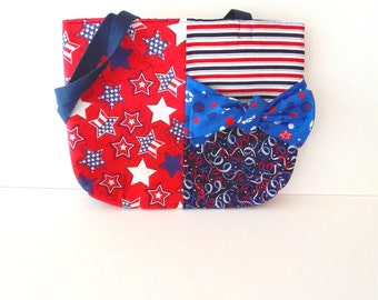 4th of July Tote/American Star Red, White, and Blue Tote
