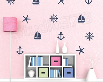 Nautical Wall Decals - Set of Sailboat Anchors Starfish Helm Decals - Sailor Decor - Boy Girl Decals - Baby Nautical Vinyl Wall Decals
