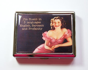 Funny Cigarette Case, Metal cigarette case, Cigarette box, cigarette dispenser, Metal Wallet, Cigarette Holder, Humor, Sarcasm (4901)