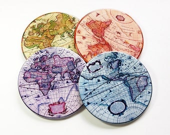 Map Coasters, Drink Coasters, Hostess Gift, Coasters, Tableware, Barware, Wine Accessories, Antique Map Images, Globe Coasters (5062)