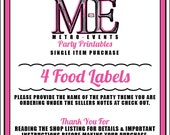 Food Labels, Printable Files, Single Item, Metro-Events