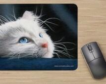 Cat Mousepad, Mouse Pad, Kitten Mousepad, Gift for Cat Lover, Animal Mousepad, Art Mousepad - Blue-Eyed Kitten Drawing - Art Cat Mousepad
