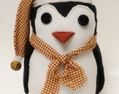Penguin with Red Mini Check Cap and Scarf, Winter Holiday Penguin