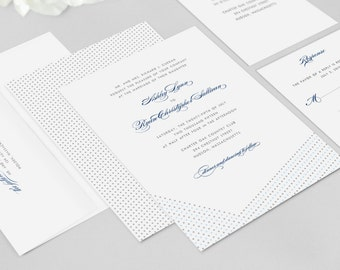 Wedding Invitation Modern - Dotted - Wedding Invitation, Modern Wedding Invitation - Deposit to Get Started