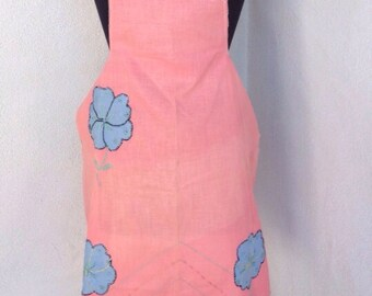SALE Vintage linen kitsch Apron with Mexico and three blue flowers