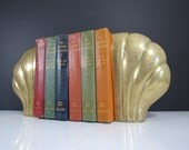 Oversized Brass Bookends // Vintage Art Deco Style Clam Shell Shape Book Holders Shelf Decor Mid Century W. Bell & Co. Library Office Decor