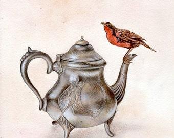 Silver Teapot and Bird ORIGINAL ILLUSTRATION