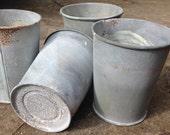 Zinc flower pot, metal plant pot, table centre, vintage flower pot, candle holder