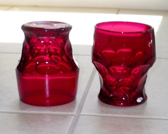 """2 VIKING GEORGIAN RUBY Red Crystal 8 Oz Tumblers Glasses Water Beverage 4 1/8"""" Tall Thumbprint Crystal Two Pair Excellent Condition"""