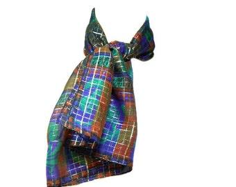 vintage LANVIN silk lamè scarf / art nouveau deco vase floral / novelty print / metallic plaid / large square scarf / women's vintage scarf