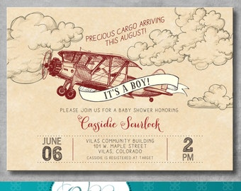 Vintage Airplane Baby Shower Invitation - Baby Boy Shower - Precious Cargo - Red - Birthday - Printable - Digital - DIY - Invite