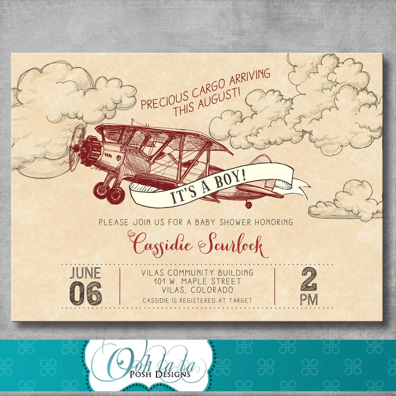 Vintage Baby Shower Invitations Girl: Vintage Airplane Baby Shower Invitation Baby Boy Shower