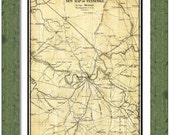 MAP of NASHVILLE Tennessee in a Vintage Grunge Weathered Antique style
