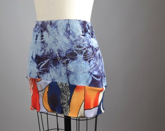 Up-cycled Suede Skirt - OOAK Summer Skirt - Dyed Leather Mini Skirt - Women's Summer Skirt - Women's Clothing