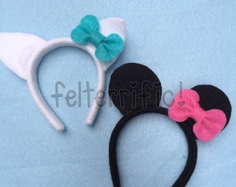 "DOLL SIZE Animal Ear Headbands- Fits Most 18"" Dolls Cat Mouse Fox Tiger"