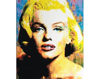 Pop Art 'Marilyn Monroe' - Pop Culture Icon Painting - Celebrity Art, Abstract Artwork, Urban Wall Art - Colorful Metal Giclée by Mark Lewis