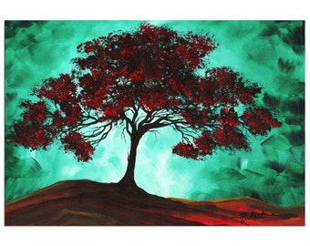 Turquoise Tree Art 'Passion Fire' Contemporary Sea Foam Red, Abstract Landscape Artwork, Modern Tree Painting Metal Giclée - Megan Duncanson